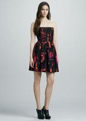 Shoshanna Strapless Printed Full-Skirt Dress