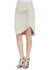 Nanette Lepore Whimsy Poplin Ruched Skirt, Sand