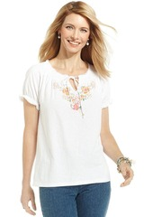 Charter Club Petite Short-Sleeve Floral-Embroidered Peasant Top