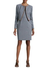 Albert Nipon Mini-Houndstooth Sleeveless Dress & Jacket Set