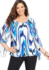 Alfani Plus Size Embellished Printed Top