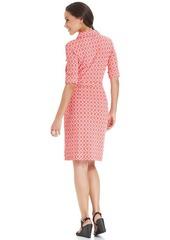Charter Club Petite Three-Quarter-Sleeve Printed Belted Shirtdress