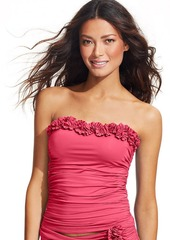 Kenneth Cole Ruched Ruffle-Trim Tankini Top