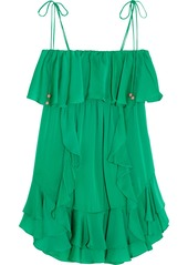 T-Bags Ruffled brushed-satin mini dress