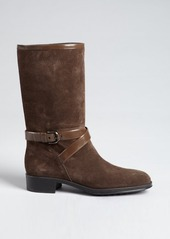 Tod's brown suede and patent trim boots