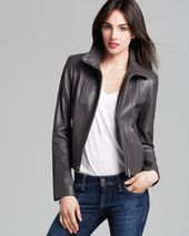Calvin Klein Stand Collar Leather Jacket