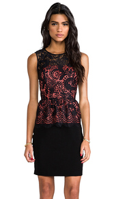 Shoshanna Lace Combo Celeste Dress in Black