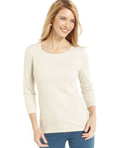 Charter Club Petite Three-Quarter-Sleeve Polka-Dot Tee