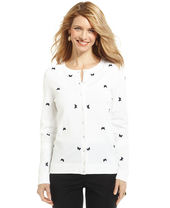 Charter Club Petite Long-Sleeve Butterfly-Print Cardigan