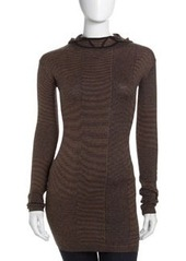 L.A.M.B. Knit Hooded Tunic, Taupe/Navy