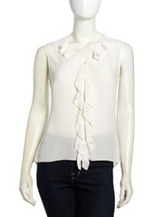 Laundry by Shelli Segal Fluid Georgette Ruffled High-Low Blouse, Snow
