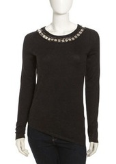 Isda & Co Embroidered-Collar Sweater, Charcoal
