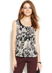 Alfani Petite Sleeveless Pleather-Trim Printed Top