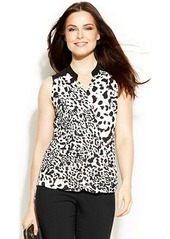 Alfani Petite Sleeveless Studed Animal-Print High-Low Top