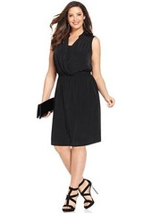 Alfani Plus Size Faux-Leather-Trimmed Sleeveless Dress