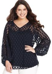 Alfani Plus Size Long-Sleeve Dot-Lace Peasant Top