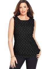 Alfani Plus Size Sleeveless Tiered Polka-Dot Top