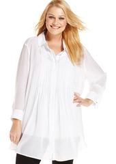 Alfani Plus Size Three-Quarter-Sleeve Pintucked Blouse