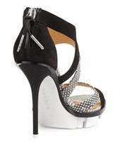 L.A.M.B. Follie Mixed-Media Sandal, Black