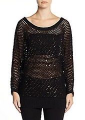 Catherine Malandrino Gilda Sequined Open-Knit Sweater