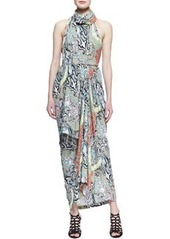 Scarf-Neck Menagerie Printed Long Dress   Scarf-Neck Menagerie Printed Long Dress