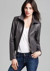 Calvin Klein Stand Collar Leather Jacket