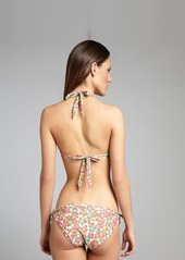 Shoshanna brown and pink floral print tied 'Barbados' halter bikini top