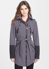 Betsey Johnson Faux Leather Trim Soft Shell Jacket with Removable Hood (Online Only)