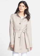 Betsey Johnson High/Low Hem Belted Trench Coat