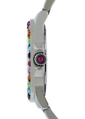 Betsey Johnson Multicolor Crystal Bezel Bracelet Watch, 40mm