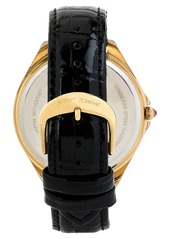 Betsey Johnson Pavé Dial Embossed Leather Strap Watch, 48mm