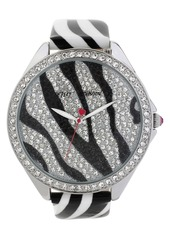 Betsey Johnson Pavé Dial Print Leather Strap Watch, 48mm