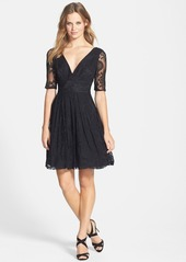 Betsey Johnson V-Neck Lace Fit & Flare Dress