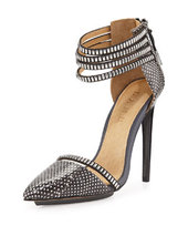 L.A.M.B. Fernley Snake-Print Strappy Pump, Black/White