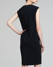 Etro Drape-Neck Sleeveless Sheath Dress, Black/Multicolor