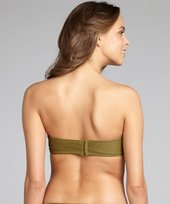 Shoshanna olive nylon blend u-bar underwire bandeau top