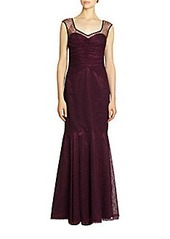 David Meister Sleeveless Lace Mermaid Gown