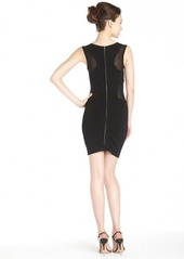 French Connection black 'Mary Mesh' stretch side panel sleeveless dress