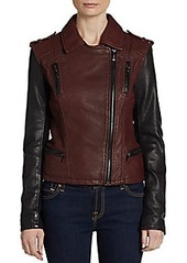 Laundry by Shelli Segal Contrast-Sleeve Asymmetrical Leather Jacket