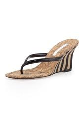 Manolo Blahnik Patwedfac Striped-Wedge Thong Sandal, Black