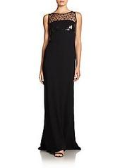 Carmen Marc Valvo Point D'Esprit Lace-Trimmed Gown