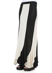 Jean Paul Gaultier Jersey Paneled Maxi Skirt, Black/Cream