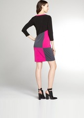 Calvin Klein hot pink and slate grey colorblock stretch jersey 3/4 sleeve dress