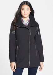 Calvin Klein Quilt Trim Asymmetrical Soft Shell Coat (Online Only)