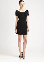 Carmen Marc Valvo Lace-Trimmed Dress