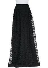 Carmen Marc Valvo Long Lace Skirt