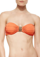 Carmen Marc Valvo Metal-Detail Bandeau Bra-Style Bikini Top