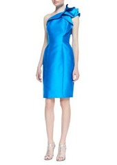 Carmen Marc Valvo One-Shoulder Ruffle Detail Cocktail Dress, Turquoise