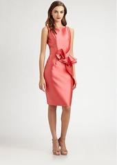 Carmen Marc Valvo Ruffle-Front Twill Dress