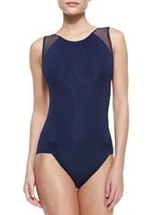 Illusion Off-the-Shoulder Maillot Swimsuit   Illusion Off-the-Shoulder Maillot Swimsuit